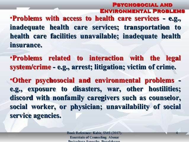 example of psychosocial and environmental problems