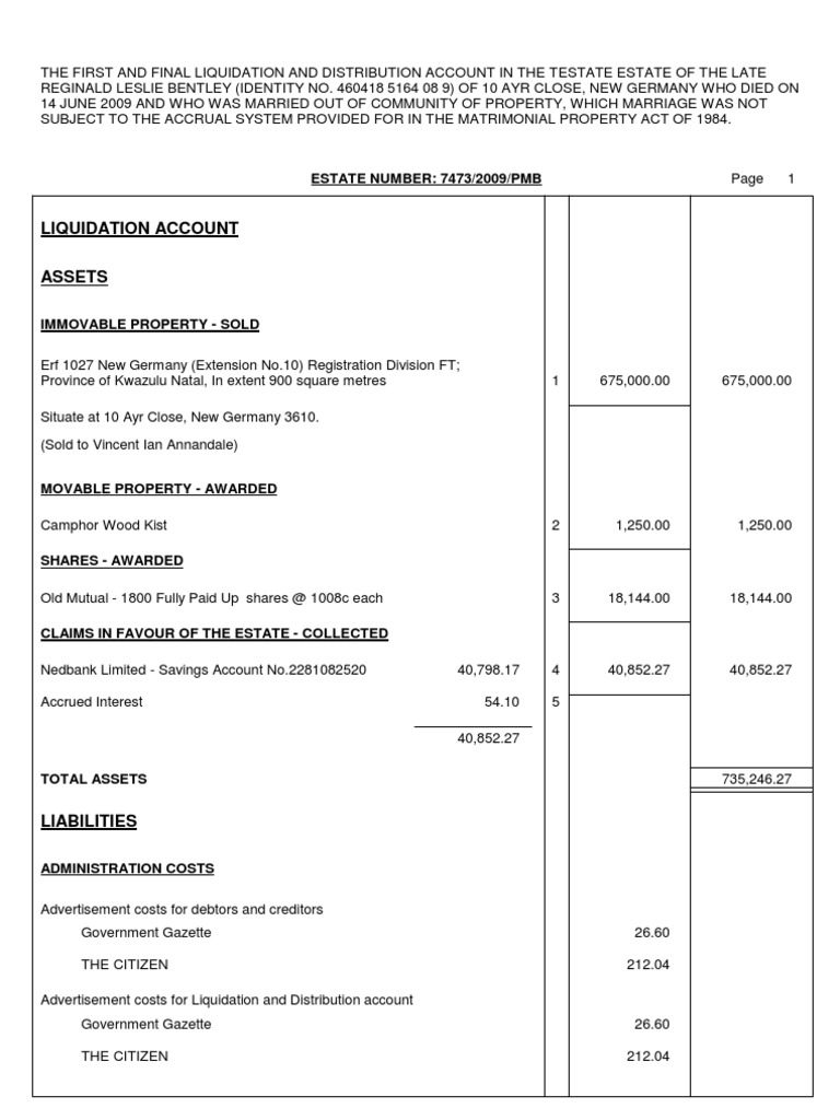 example of liquidation and distribution account