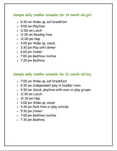 3 month old schedule example