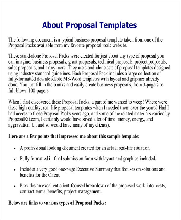 1 page job proposal example