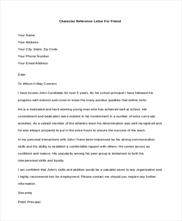 character reference letter for a friend example