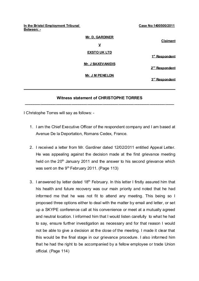 police witness statement template example