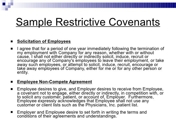covenant not to compete example