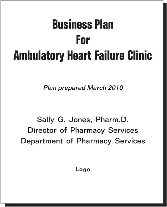 business plan cover page example