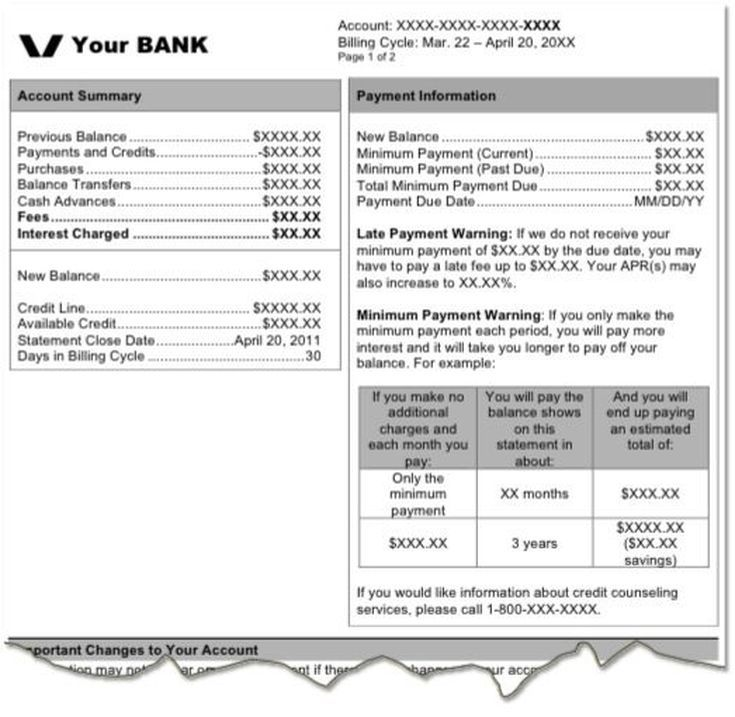 example of credit card billing statement