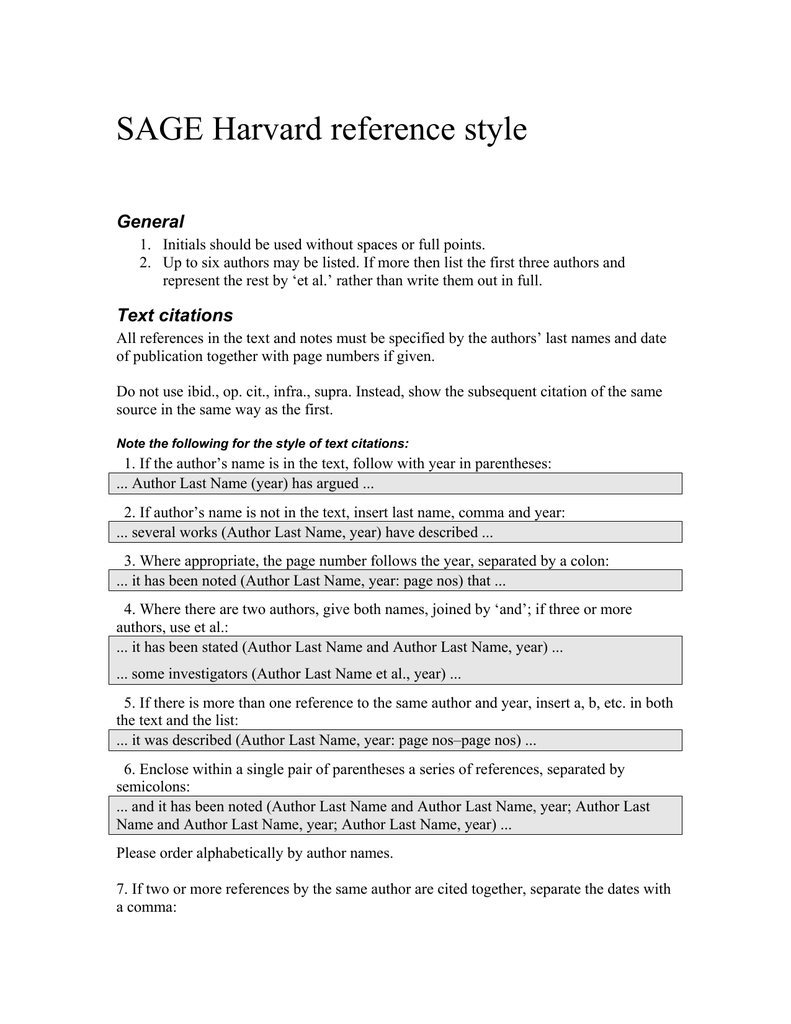 sage harvard reference style example