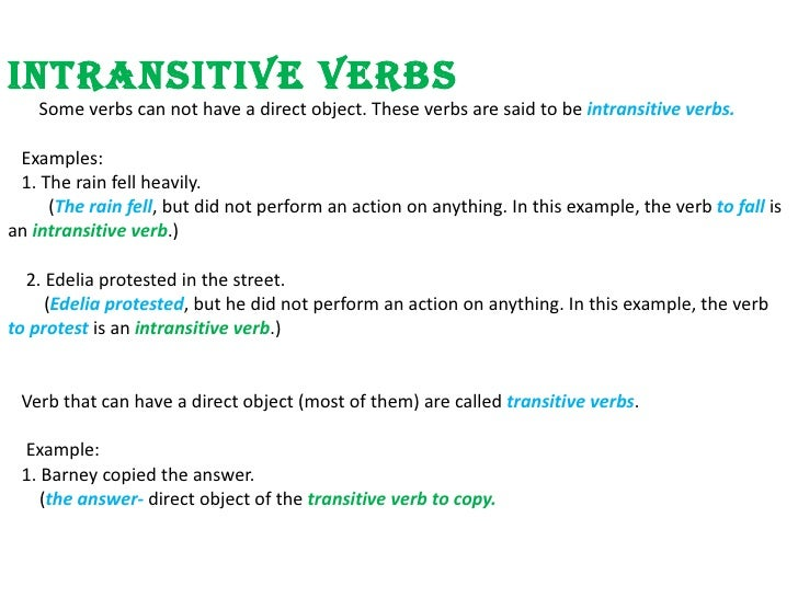 what is an intransitive verb example